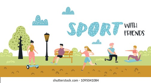 Summer Outdoor Sports Activities. Active People in the Park Poster, Banner. Running, Yoga, Roller, Fitness. Characters Doing Workout Outside. Vector illustration