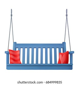 summer outdoor wooden blue porch swing bench with red pillows isolated on white background. realistic 3d vector illustration