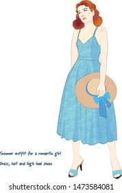 Summer outfit for a romantic girl  Dress, hat and high heel shoes