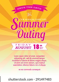 Summer Outing Event and Save the Date Poster Template - Vector