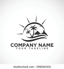 Summer palm beach Vector sunset  Logo  design. palm beach logo. Glasshouse mountains. Palm tree ocean wave beach tropic logo vector image .