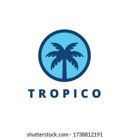 Summer Palm Symbol. Web Icon Logo Template Design Element.