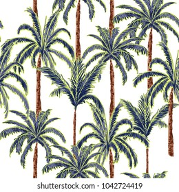 A summer palm trees on the white  forest  background. Vector seamless pattern. Tropical illustration. Jungle foliage.