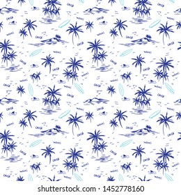 Summer palms seamless pattern.Palm drawing.Surfing vector print.Fashion fabrics, textile graphics, print.