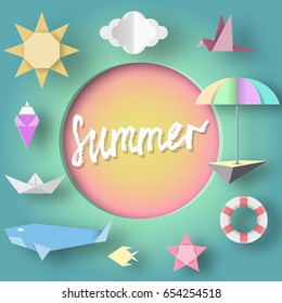 Summer Paper Applique of Symbols, Sign and Objects with Text illustrate the Greeting of the Summertime. Vintage Style. Art Template for Banner, Card, Logo, Poster, Label. Design Vector Illustrations.