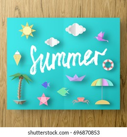 Summer Paper Applique of Symbols, Sign and Objects with Text illustrate the Greeting of the Summertime. Sun Background. Abstract Art Template for Banner, Card, Poster. Design Vector Illustrations.