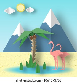 Summer Paper Origami Concept with Flamingo, Palm, Sun, Sky, Mountain. Papercut Seasonal Poster. Abstract Scene with Symbols, Sign, Elements. Vector Illustrations Art Design Background.