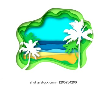 summer papercut backrgound with silhouette palm trees, beach and sea. Peper art vector illustration for design of banner, cards, flyer, web, sale.