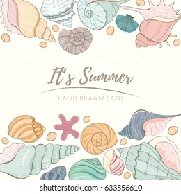 Summer paradise holiday marine card. Seashell illustration can be used for invitation, postcard, menu or website Hand draw underwater tropical objects with sea shells and sea star.