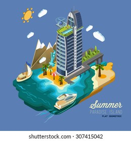 Summer Paradise Island, part of the land hotel and surrounding landscape and buildings, palm trees, mountains, the sea, yacht, road to the hotel across the ocean. Vector isometric 3D concept.