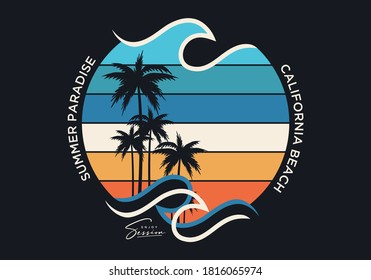 summer paradise stylish t-shirt and apparel trendy design with palm trees silhouettes, typography, print, vector illustration. Global swatches.