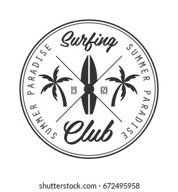 Summer paradise surfing club logo template, black and white vector Illustration