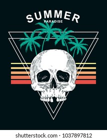 Summer paradise text with skull and palm trees. Vector illustration for t-shirt print and other uses.