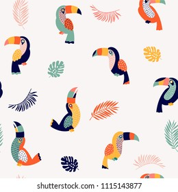 Summer paradise toucan vector seamless pattern