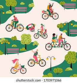 Summer park with people riding bikes. Different cartoon bicycle riders