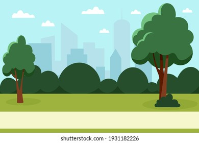Summer park with trees and bushes in a big city. Nature in the city. Vector illustration in flat style