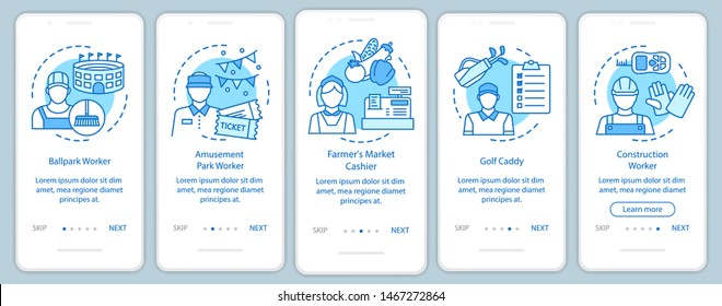 Summer part-time jobs blue onboarding mobile app page screen with linear concepts. Construction worker, caddy. walkthrough steps graphic instructions. UX, UI, GUI vector template with illustrations