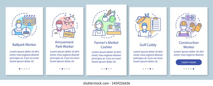 Summer part-time jobs onboarding mobile app page screen with linear concepts. Construction worker, caddy, cashier walkthrough steps graphic instructions. UX, UI, GUI vector template with illustrations
