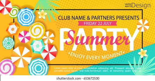 Summer party banner with sun umbrellas on background. Vector illustration template and banners, wallpaper, flyers, invitation, posters, brochure, voucher discount.