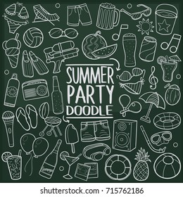Summer Party Beach Doodle Icon Chalkboard Sketch Hand Made Vector Art