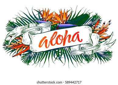 Summer party beach poster. Aloha lettering. Vector floral background with hand drawn palm leaves. Vintage ribbon.