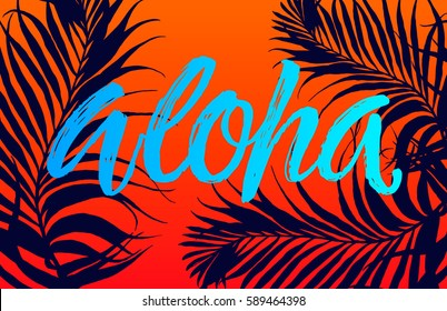 Summer party beach poster. Aloha lettering. Vector floral background with hand drawn palm leaves.