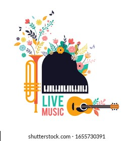 Summer Party, concept of live music festival, jazz and rock, food street fair, event poster and banner colorful vector design