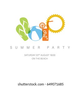 Summer party concept minimalist vector illustration / icon