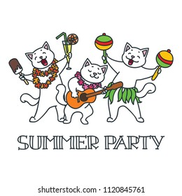 Summer party. Cute white cats having fun at a summer party. Doodle vector illustration
