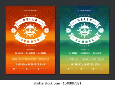 Summer party design poster or flyer night club event modern typography and seascape background. Vector template illustration.