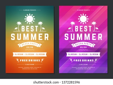 Summer party design poster or flyer night club event modern typography and abstract background. Vector template illustration.