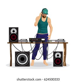 Summer party: DJ and his equipment, dance music. Set of loudspeakers, subwoofer, turntables, a mixer for a disco on the beach. Vector flat cartoon illustration on a isolated background