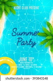 Summer party flyer. Beautiful background on the sea topic with shore, water and palm trees. Vector illustration.