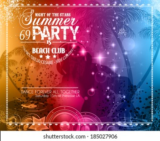 Summer Party Flyer for Music Club events for latin dance.
