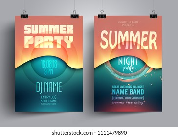 Summer party flyer or poster layout template with background from colorful waves. Musical electro concert in the style of house,dubstep,techno,minimal,trance,Drum and Bass,Indie rock.
