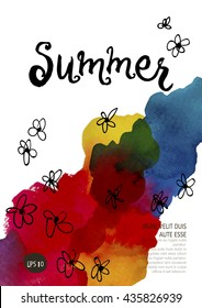 Summer Party Flyer Template A4. Vector Design. Watercolor spot. Hand Drawn Lettering.