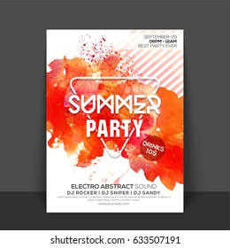 Summer Party Flyer, Template design with abstract orange color splash.