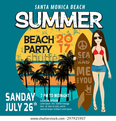 summer party flyer template poster brochurevector stock vector