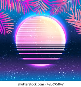 Summer Party holiday background, vector illustration. Tropical poster with palm leafs.Multicolor abstract  with tropical palm trees and abstract sun in vibrant psychedelic colors. 90s style concept.