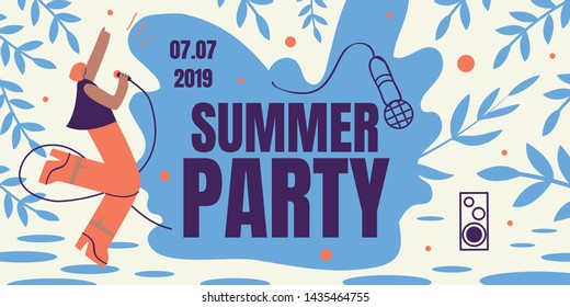 Summer Party Horizontal Retro Colored Banner, Girl Singing with Microphone, Order Ticket Online. Annual Musical Festival Event Invitation. Woman Dance, Sing, Have Fun. Cartoon Flat Vector Illustration
