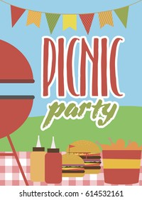 Summer party invitation Barbecue picnic template. Vector illustration.