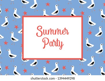 Summer party invitation card template vector with seagulls and sea stars pattern.
