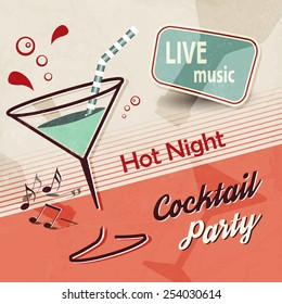 Summer party invitation with cocktail glass and music notes - retro poster design