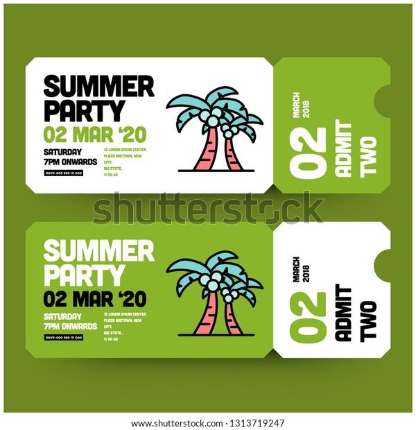 Summer Party Invitation Design Where When Stock Vector (Royalty ...
