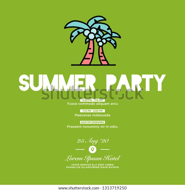 Summer Party Invitation Design Where When Stock Vector (Royalty ...