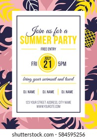 Summer party invitation with tropical background elements. Vector illustration.