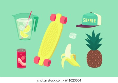 Summer party isolated objects. Vector illustration.
