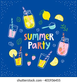 Summer party lemonade colorful card