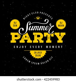 Summer Party lettering. Flyer, Banner or Poster Desing. Vector illustration.