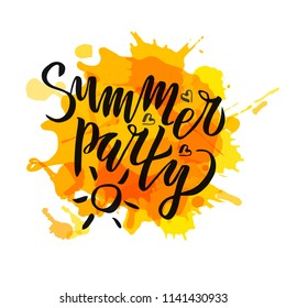 Summer party lettering Gradient Handwritten calligraphy, brush painted letters on blot background. Inspirational text in vector illustration. Template for flyer, banner, poster, greeting card